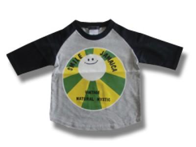 Smile Jamaica キッズラグランTシャツ(グレー/黒)