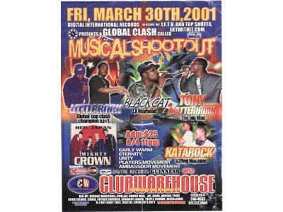 GLOBAL CLASH called MUSICAL SHOOTOUT 2001 at CLUB WAREHOUSE